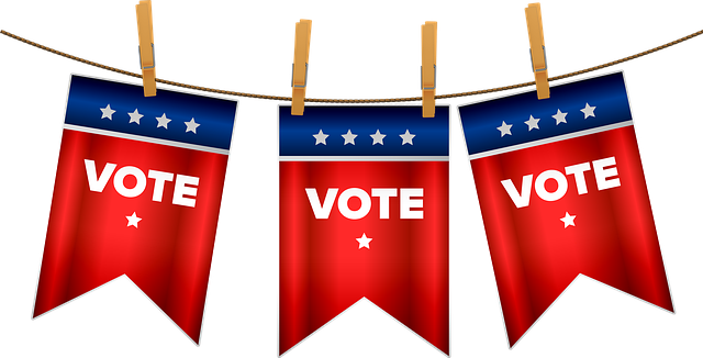 """Wahlwimpel mit dem Schriftzug """"Vote"""" stehen symbolisch für die Wahl am 1. November 2020 in Amerika."""